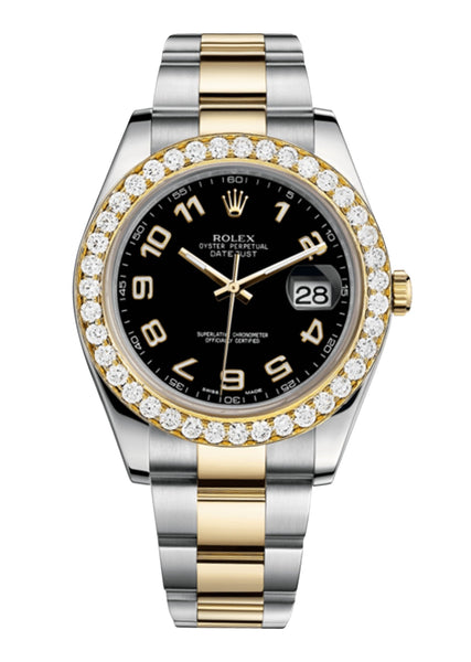 Rolex Datejust Ii Black Dial - Arabic Numerals With 5 Carats Of Diamonds