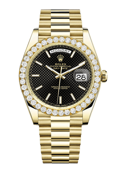 Rolex Day Date 40 Presidential Black Diagonal Motif Dial - Index Hour Markers With 4 Carats Of Diamonds