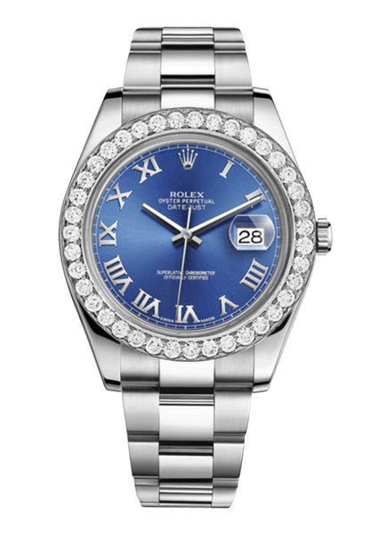 Rolex Datejust Ii Blue Dial - Roman Numerals With 5 Carats Of Diamonds