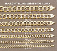 Hollow Mens Diamond Cut Cuban Bracelet 10 Ct  Yellow Gold