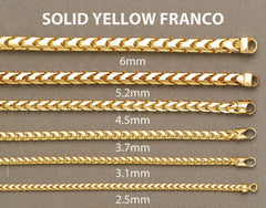 Solid Mens Franco Bracelet 10 Ct  Yellow Gold