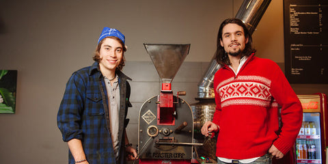 Owner Eric Faust (right) and barista Matt at Duluth Coffee Company