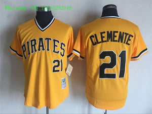 the latest b32a6 c11c4 21 Roberto Clemente For Men Stitched Jersey Size S to 3 XL Yellow