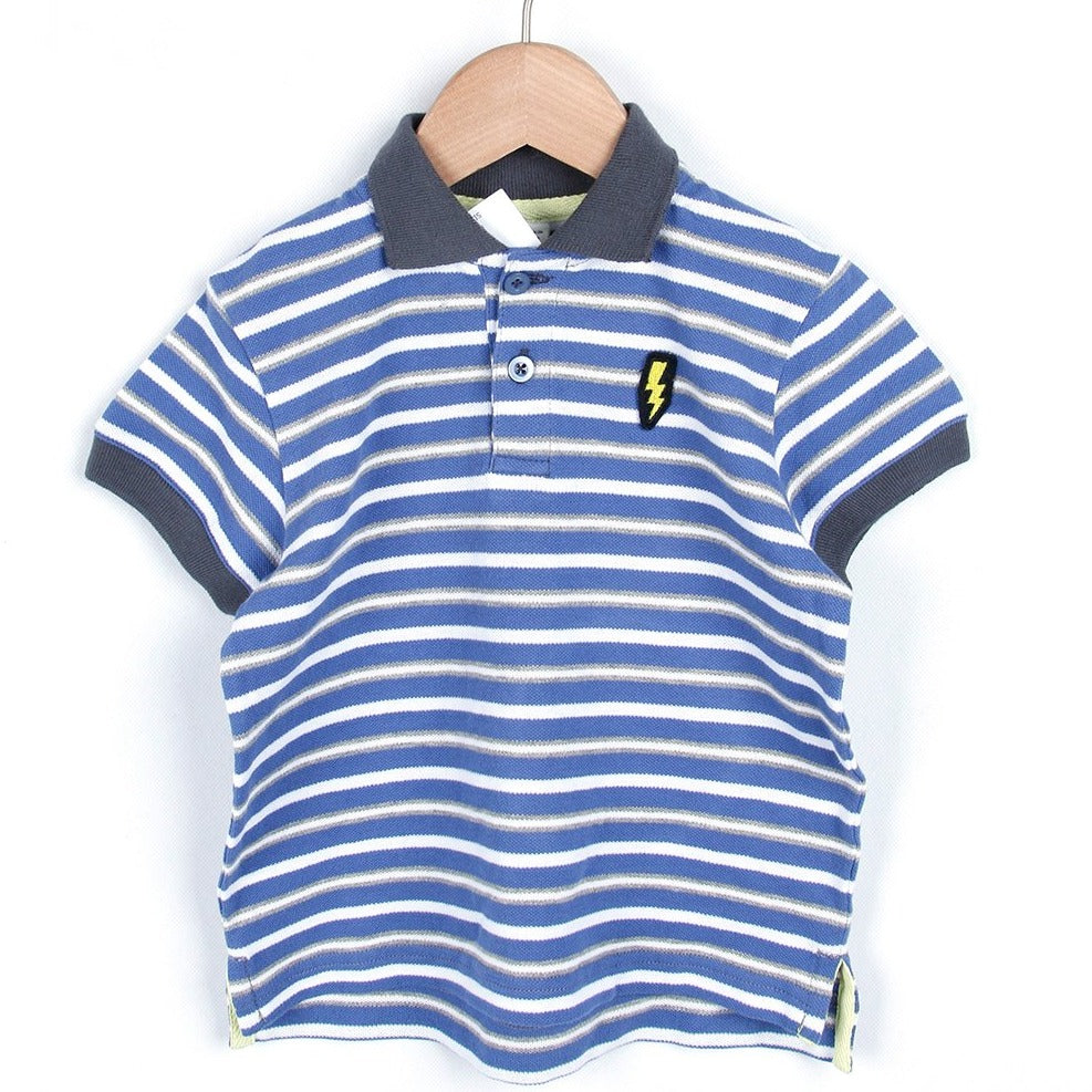Polo Shirt (Navy blue & White/Borders)