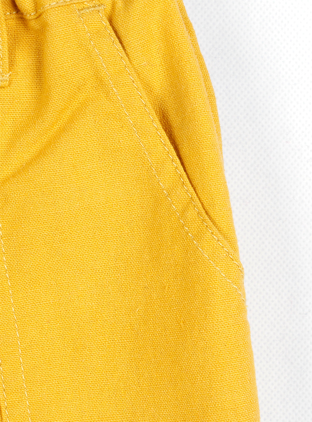 LINEN ROLL-UP PANTS (Yellow/Black) SS20