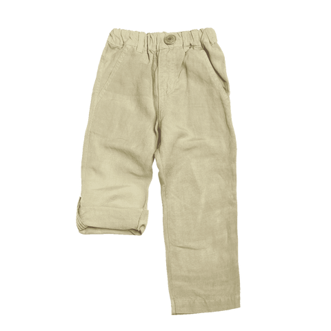 Linen Roll Up Pants - Beige