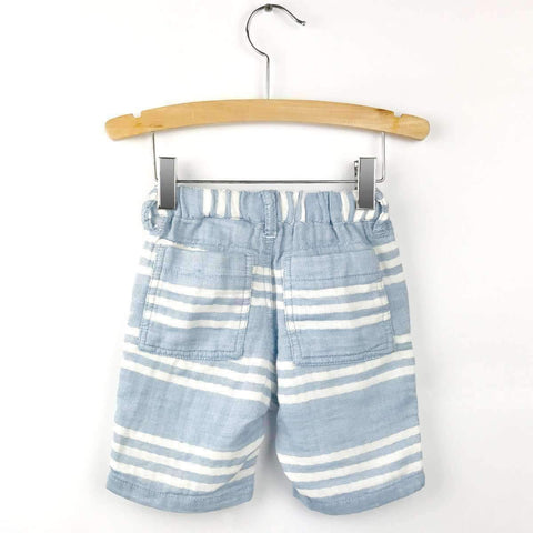 W Gauze Stripe Shorts - Blue