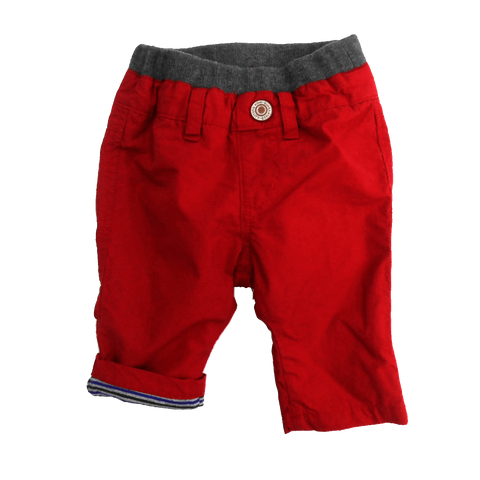 BABY STRIPE LINED CARGO PANTS - RED - Pants - Bit'z Kids - 1