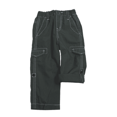 Cotton Typewriter Fabric Roll Up Pants - Khaki Green