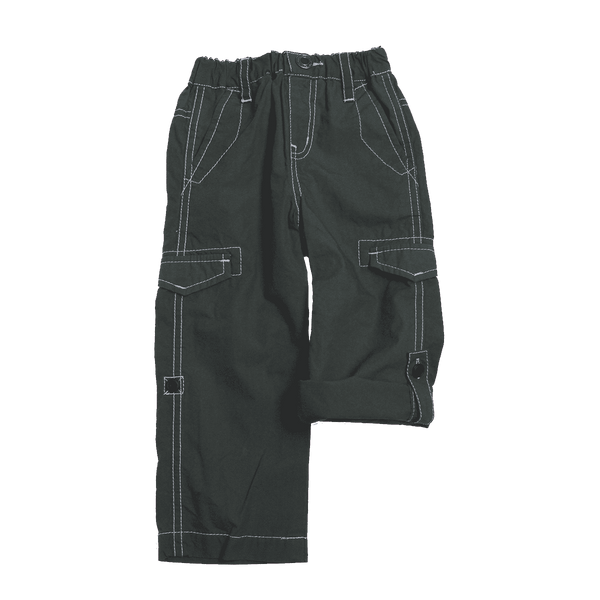 Cotton Typewriter Fabric Roll up Pants - Charcoal - Bit'z Kids