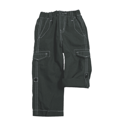 Cotton Typewriter Fabric Roll up Pants - Charcoal