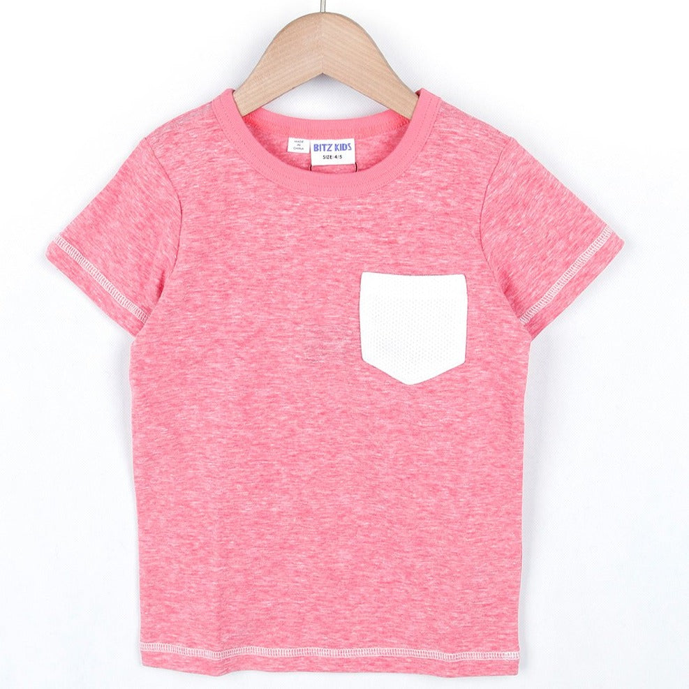 Pocket Mesh Color T-shirt (Mix/White/Red/Blue)