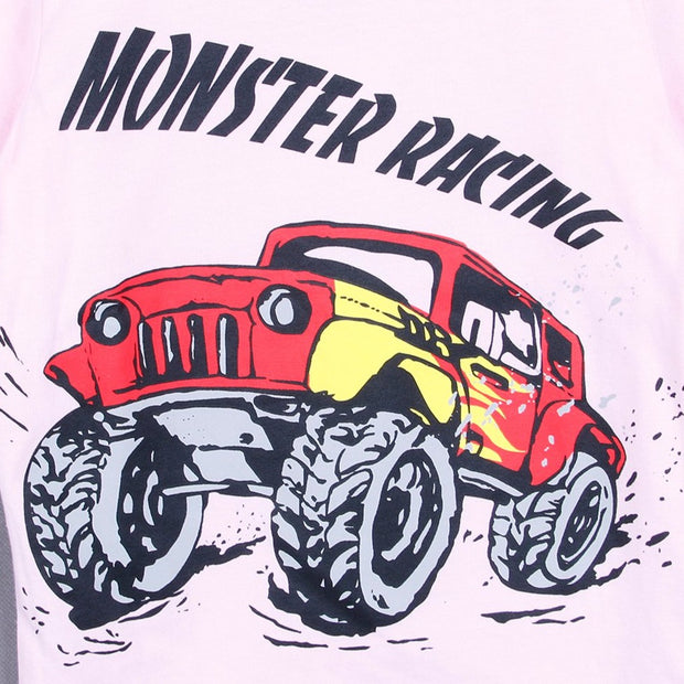 Monster Truck T-shirt (White/Black/Pink)