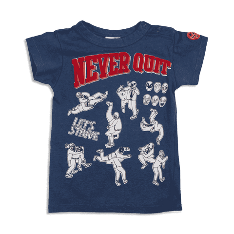 Never Quit Businessperson Wrestling Tee - Navy blue