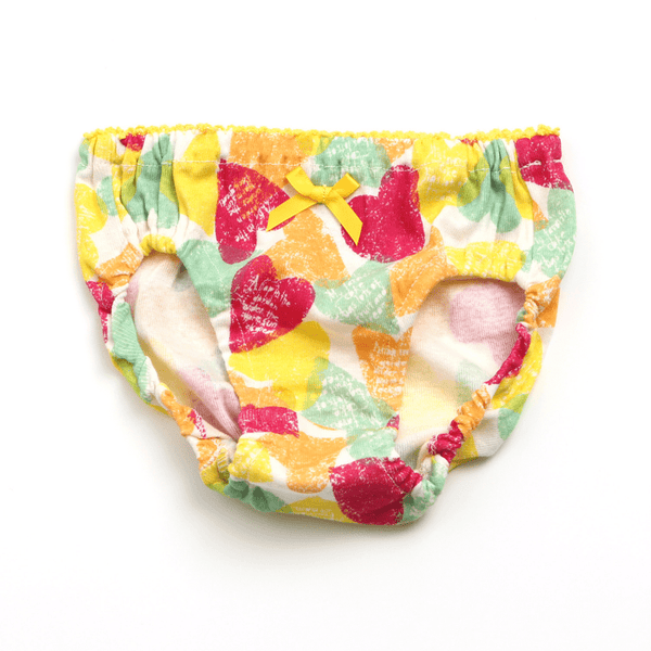 Girl's Heart Printed Underwear - YELLOW - Bit'z Kids