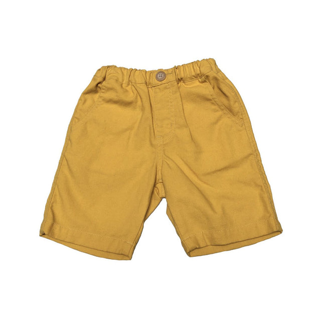Linen Half Pants (Yellow/Black)