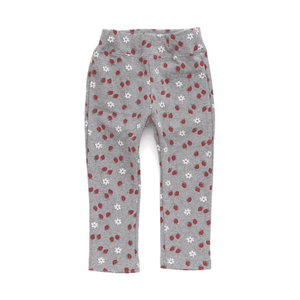 strawberry print pants grey