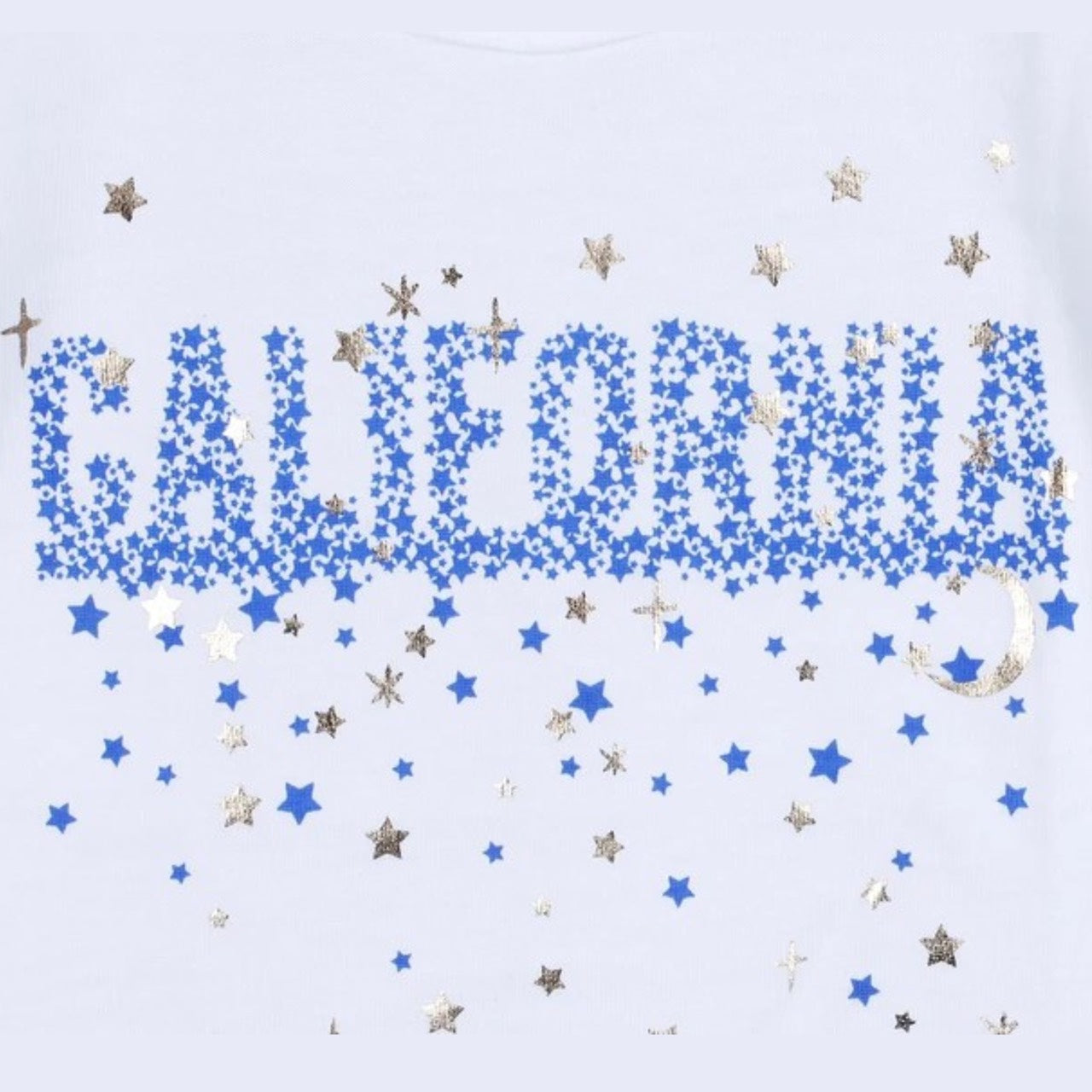 California Star & Moon Glitter T-shirt (Navy Blue/White)