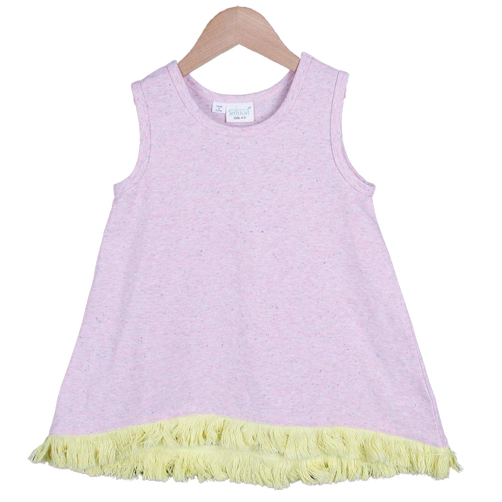 Color Nep Hem Frill Tunic (White/Pink)