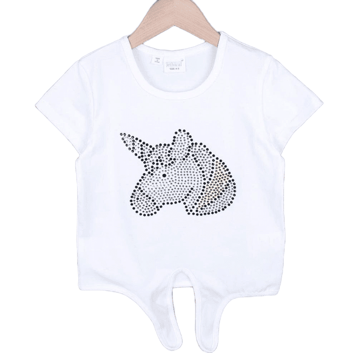 Unicorn Hem Draw T-shirt (White/Pink)