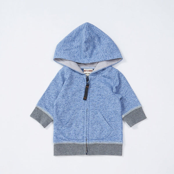 Baby Boys' Heather Color Zip Up Hoodie - NAVY BLUE 18ss - Bit'z Kids