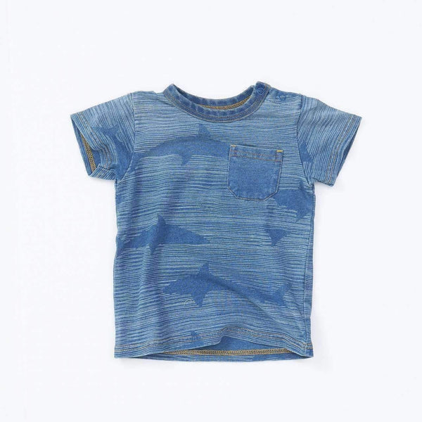 shark printed indigo pocket tee blue 18ss blue