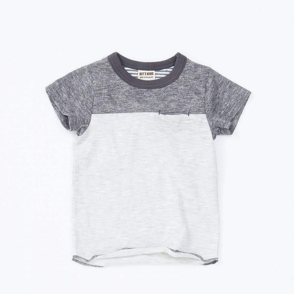 mix color block tee charcoal 18ss charcoal