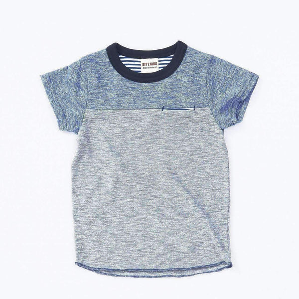 Mix Color Block Tee - NAVY BLUE 18ss