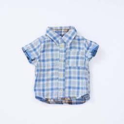 Baby Boys' W Gauze Reversible Shirt - BLUE 18ss - Bit'z Kids