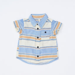 Baby Boys' W Gauze Herringbone Stripe Shirt - LIGHT CREAM 18ss - Bit'z Kids