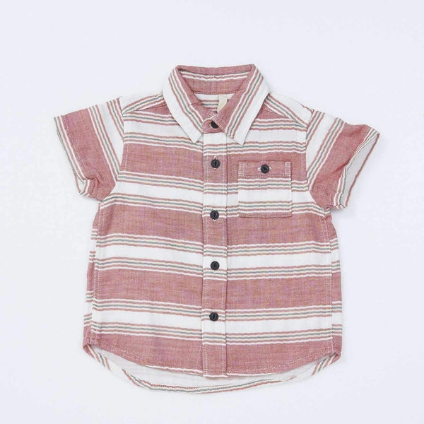 W Gauze Herringbone Stripe Shirt - RED  18ss