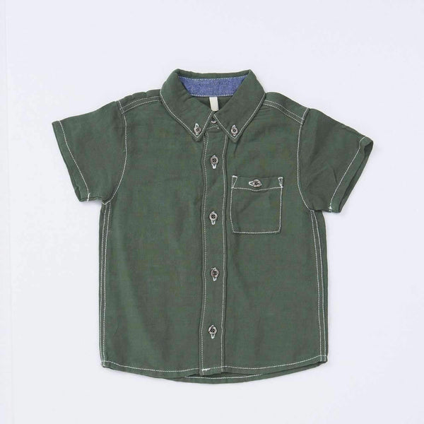 Linen Button Down Shirt - GREEN 18ss