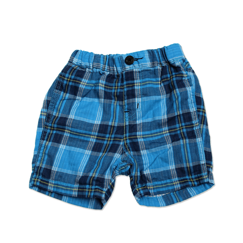 Baby's W Gauze Plaid Shorts - Blue