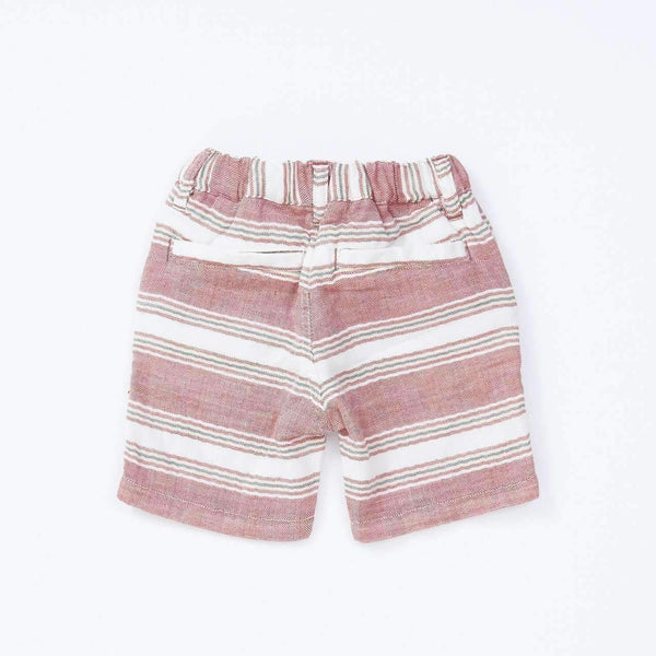 W Gauze Striped Shorts  - RED  18ss