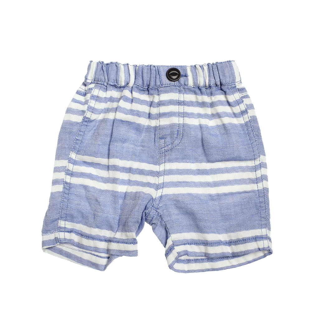 Baby's W Gauze Stripe Shorts - Blue