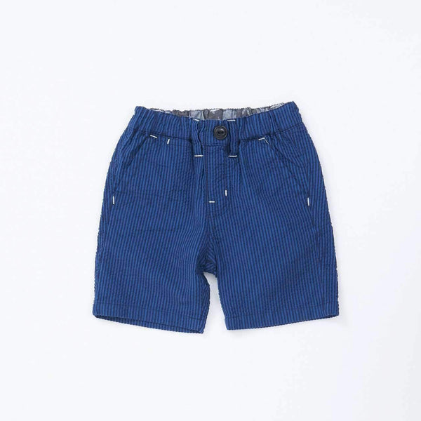 Seersucker Stripe Shorts - NAVY BLUE 18ss