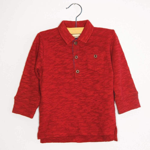 Long Sleeve Polo Shirt - Red