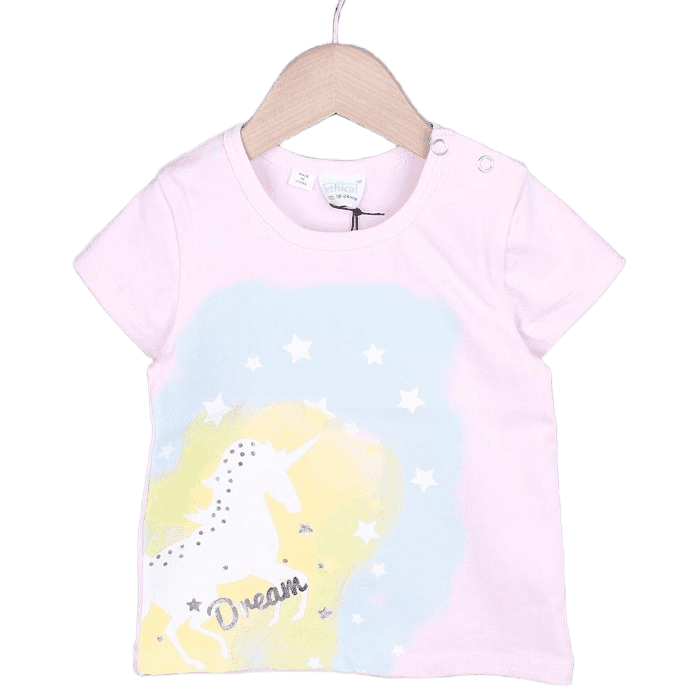 Unicorn Silhouette Boil Print T-shirt (White/Light blue/Pink)
