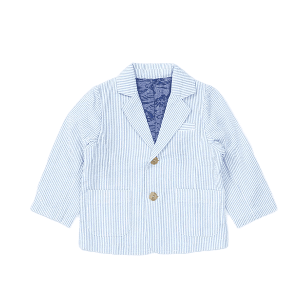 Seersucker Stripe Summer Tailored Jacket