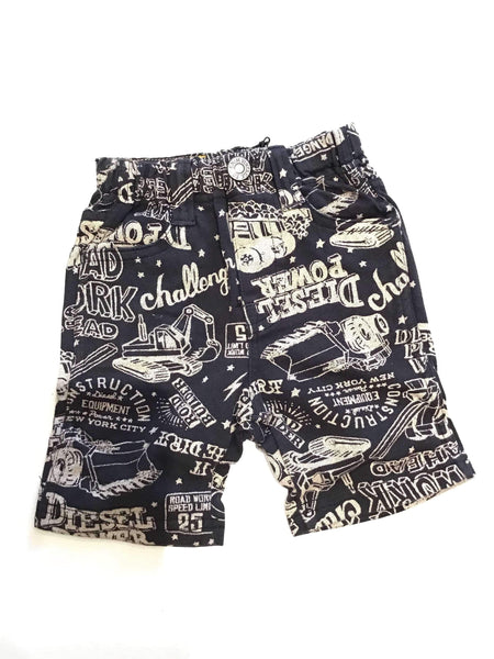 Car Printed Shorts Charcoal - Bit'z Kids