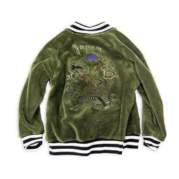super soft velour embroidered jacket army green