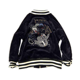 super soft velour embroidered jacket navy blue