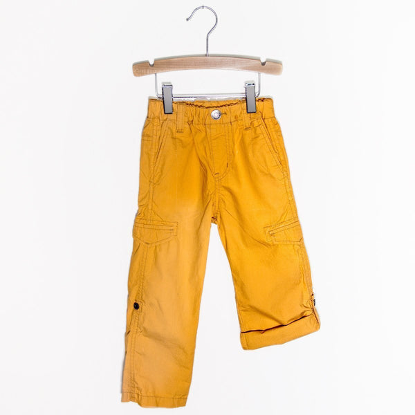 Cotton Typewriter Fabric Roll Up Pants - Orange - Bit'z Kids