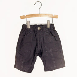 Cotton Typewriter Fabric Everyday Shorts - Charcoal - Bit'z Kids