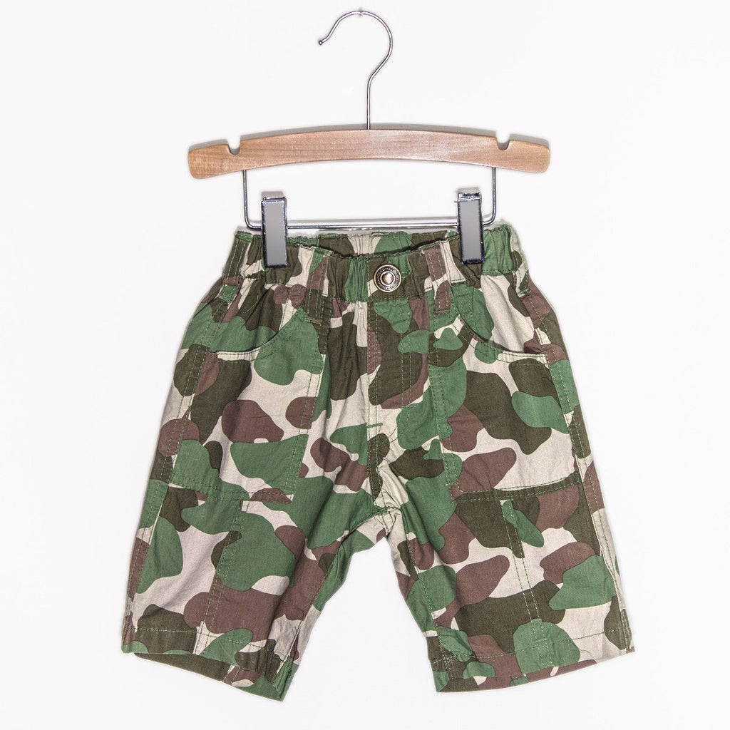 Cotton Typewriter Fabric Everyday Shorts - Camo Green