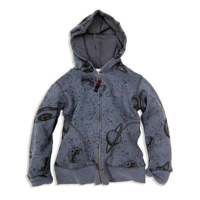 printed zip up hoodie charcoal