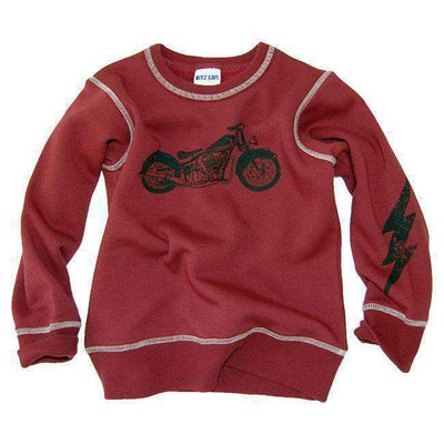motorbike shaggy sweatshirt red