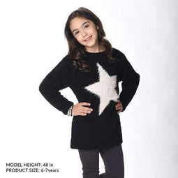 Girls' Comfy Marshmallow Knit Sweater - BLACK 18aw - Bit'z Kids