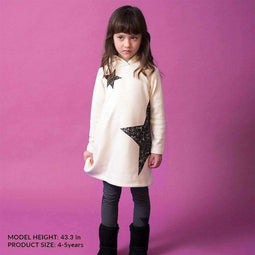 Girls' Hooded  Shaggy Dress - OFF WHITE 18aw - Bit'z Kids