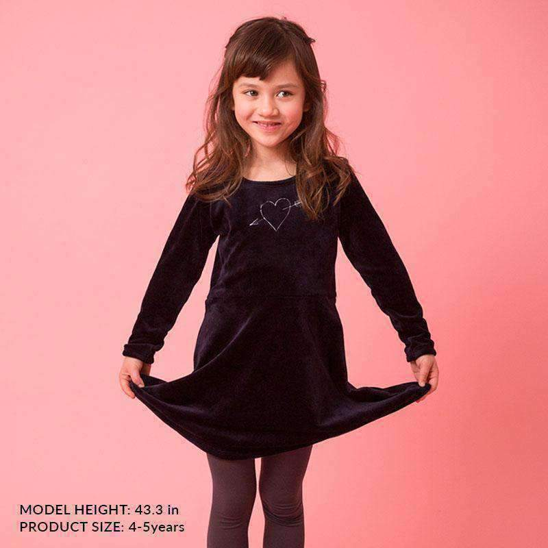 girls' velour dress navy blue